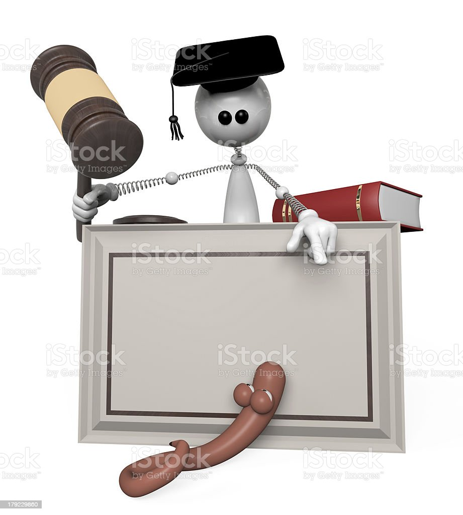 3d white person judge. royalty-free stock photo
