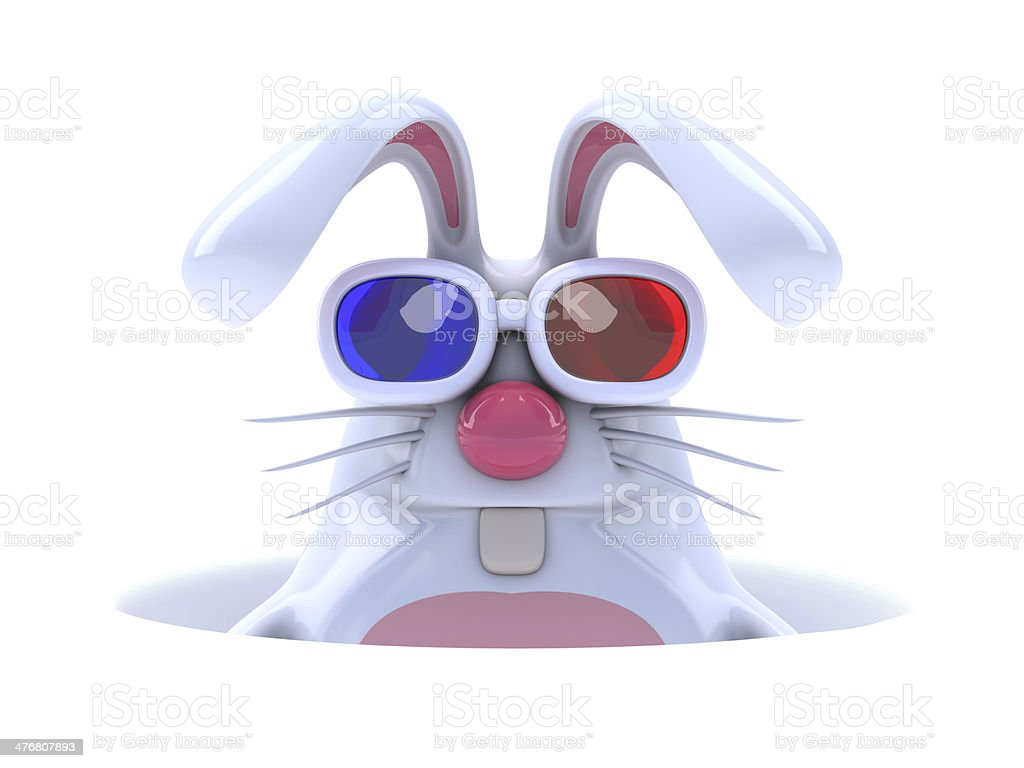 3d White rabbit in a hole stock photo