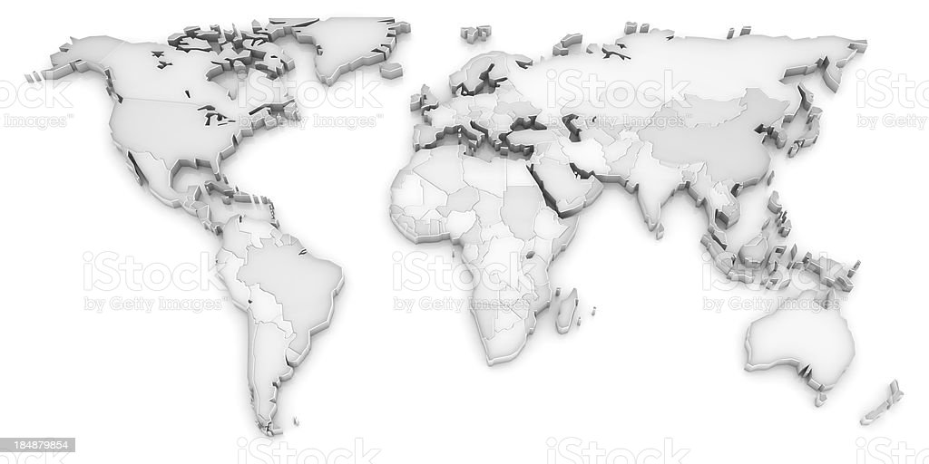 3d white world map royalty-free stock photo