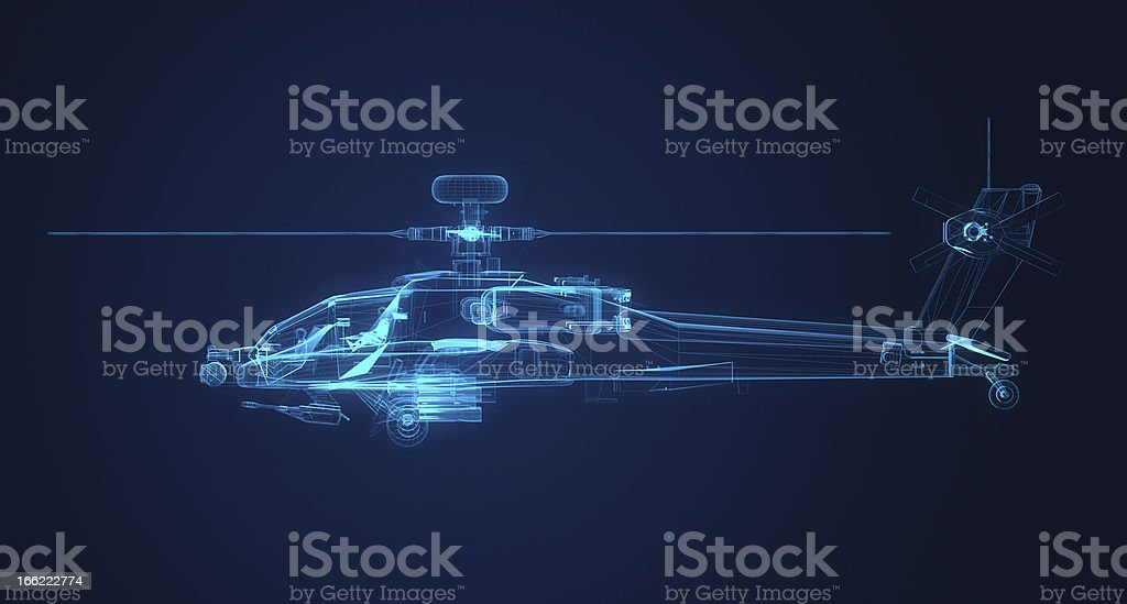 3d Wire Frame sketch of Apache Helicopter stock photo