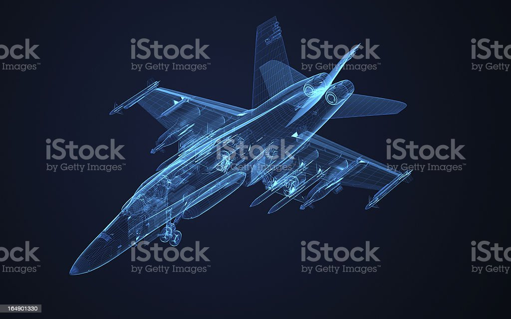 3d Wire Frame sketch of F-18 hornet stock photo