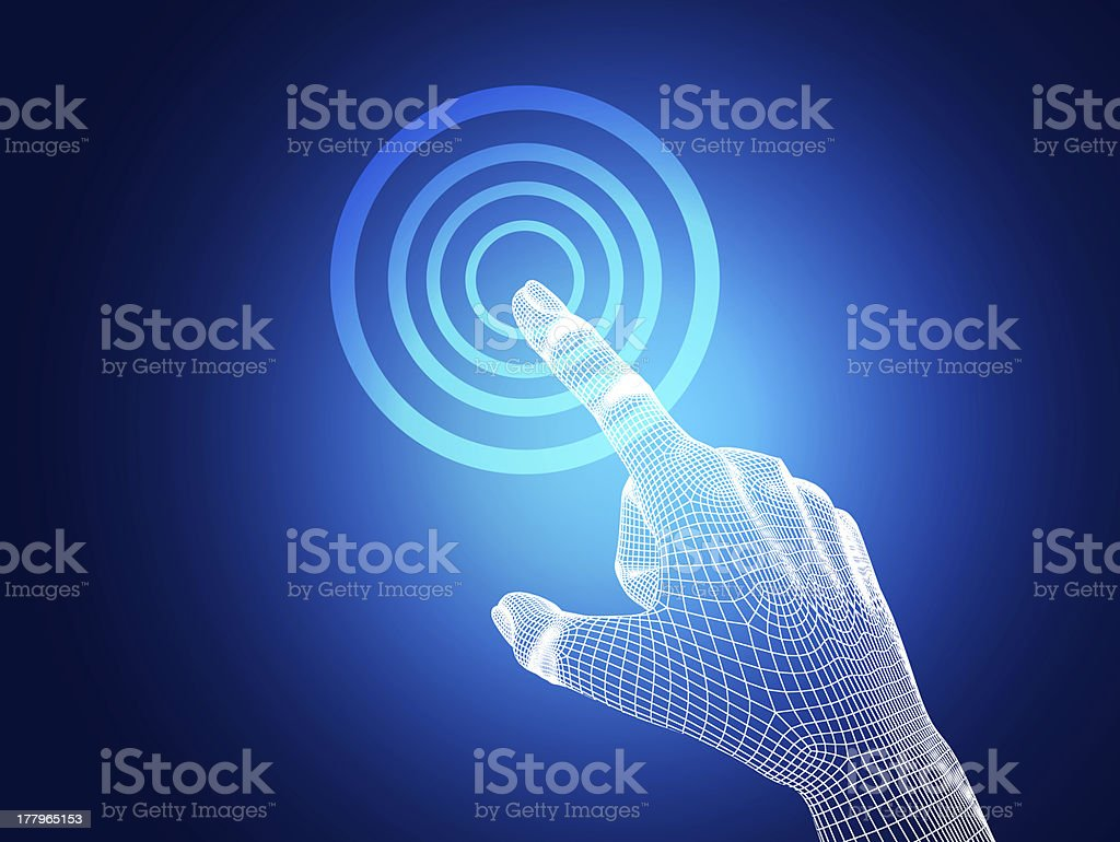 3d wireframe hand touching button on blue background royalty-free stock photo