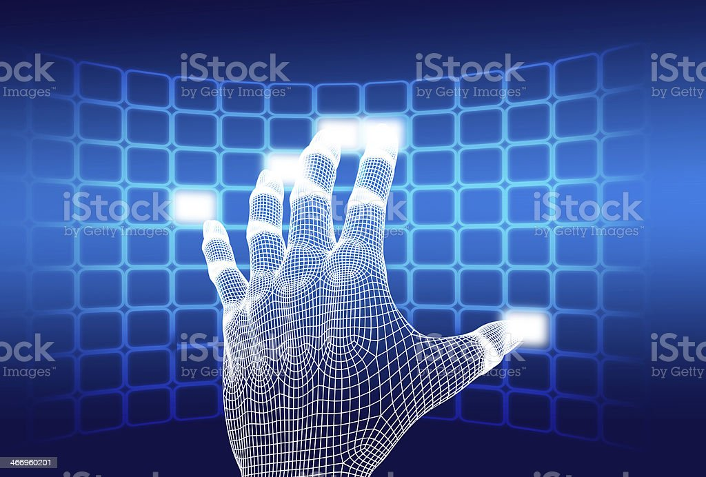 3d wireframe hand touching button royalty-free stock photo