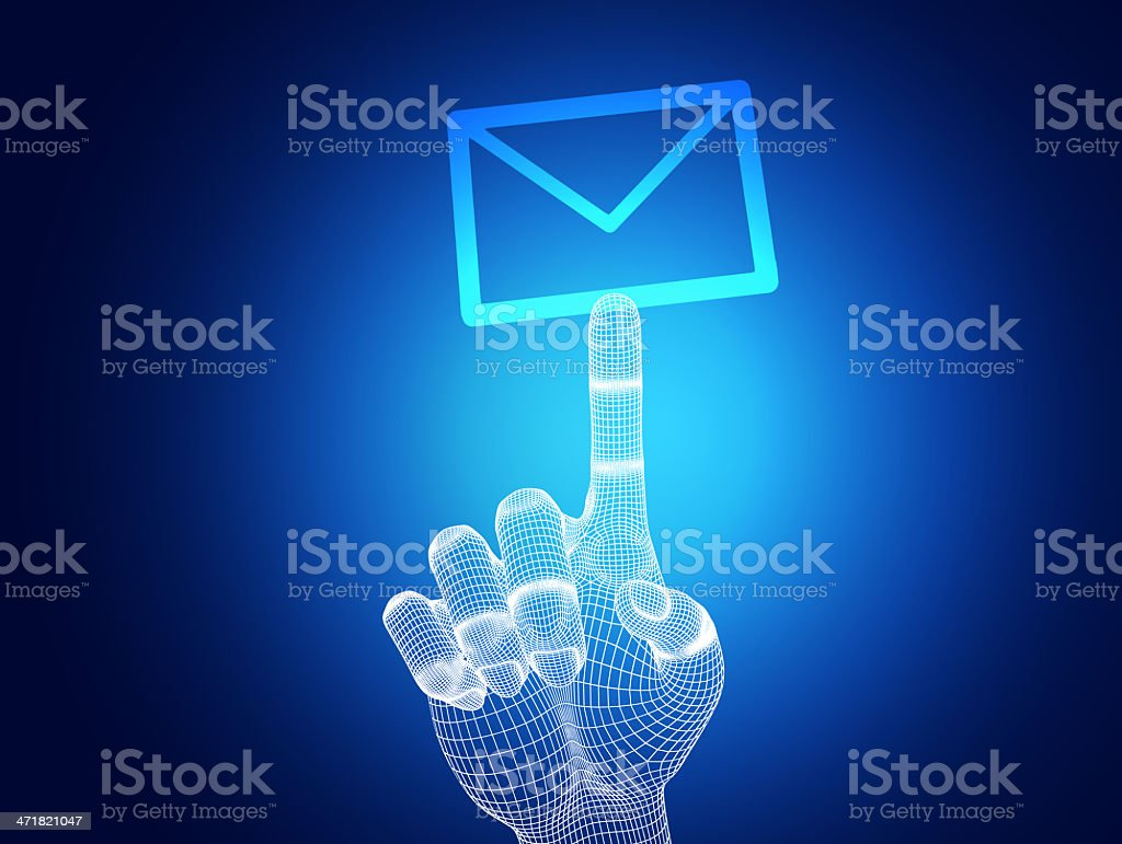 3d wireframe hand touching e-mail on blue background royalty-free stock photo