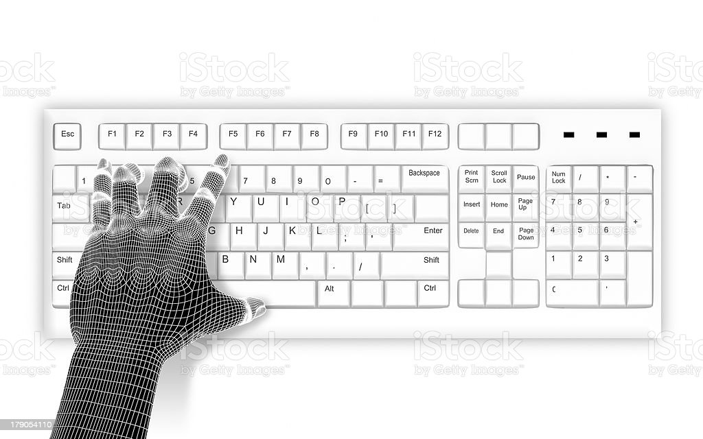 3d wire-frame hands typing on a white keyboard royalty-free stock photo