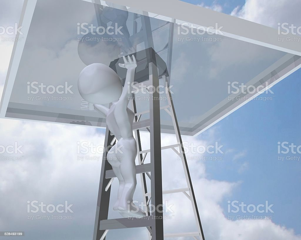 3d woman reaching the glass ceiling vector art illustration