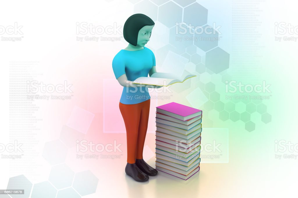 3d women reading book, education concept stock photo