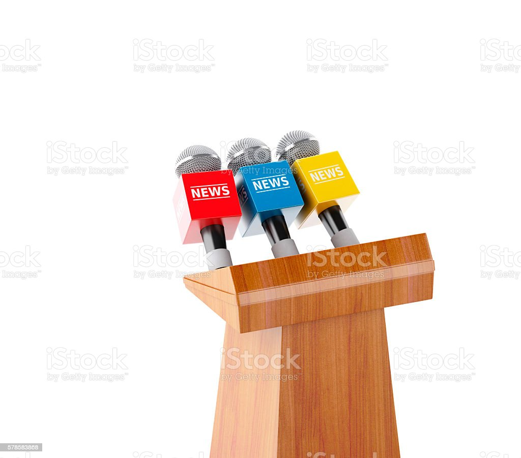 3d Wooden podium with news microphones. stock photo