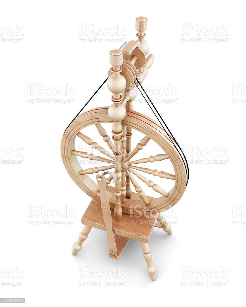 3d wooden spinning wheel. stock photo