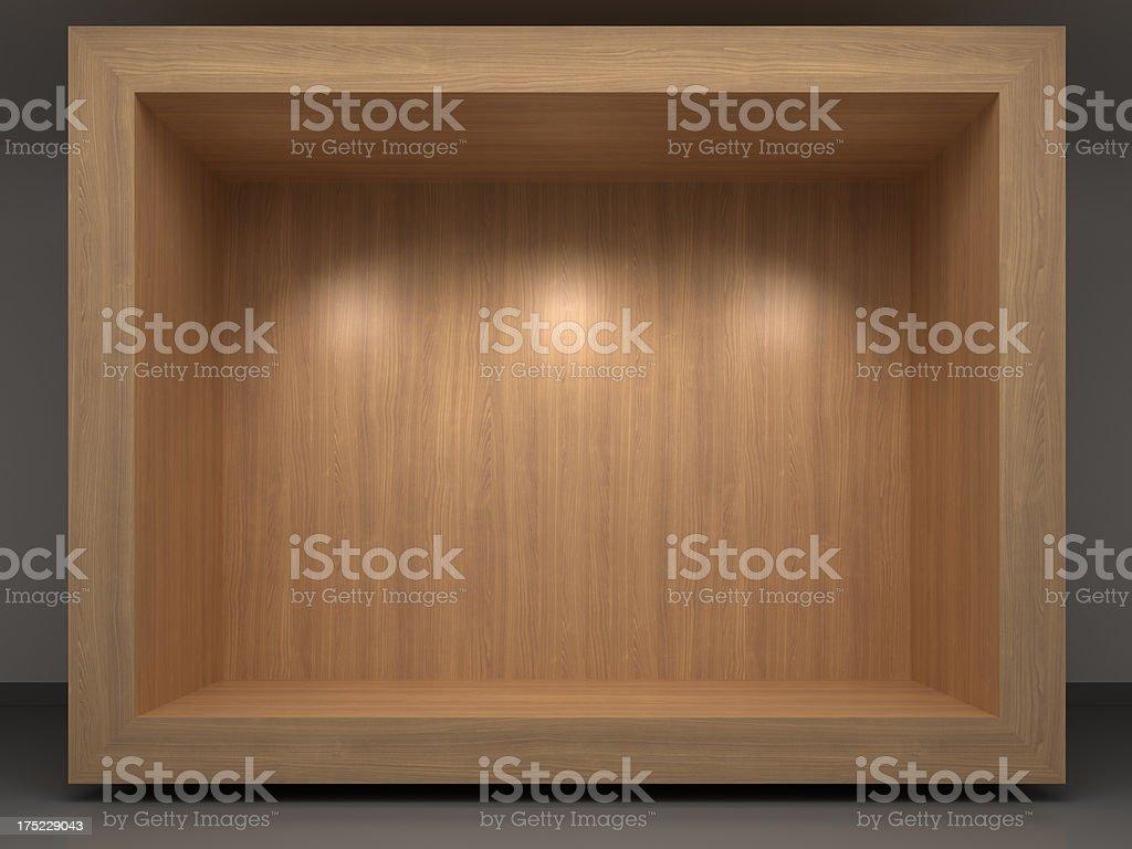 3d wooden vitrine royalty-free stock photo