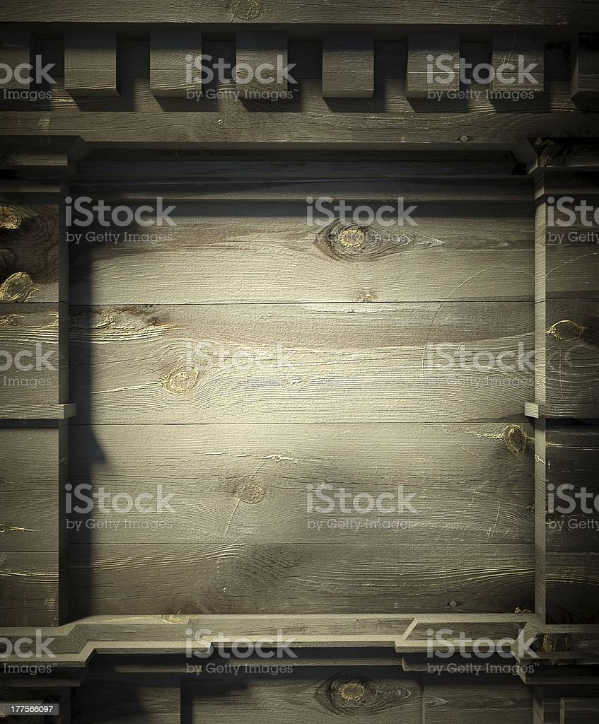 3d wooden wall, antique architecture background stock photo