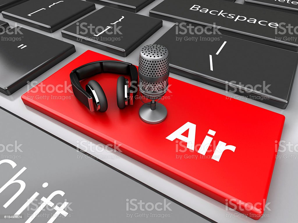 3d Word air with mic and headphones on computer keyboard. stock photo