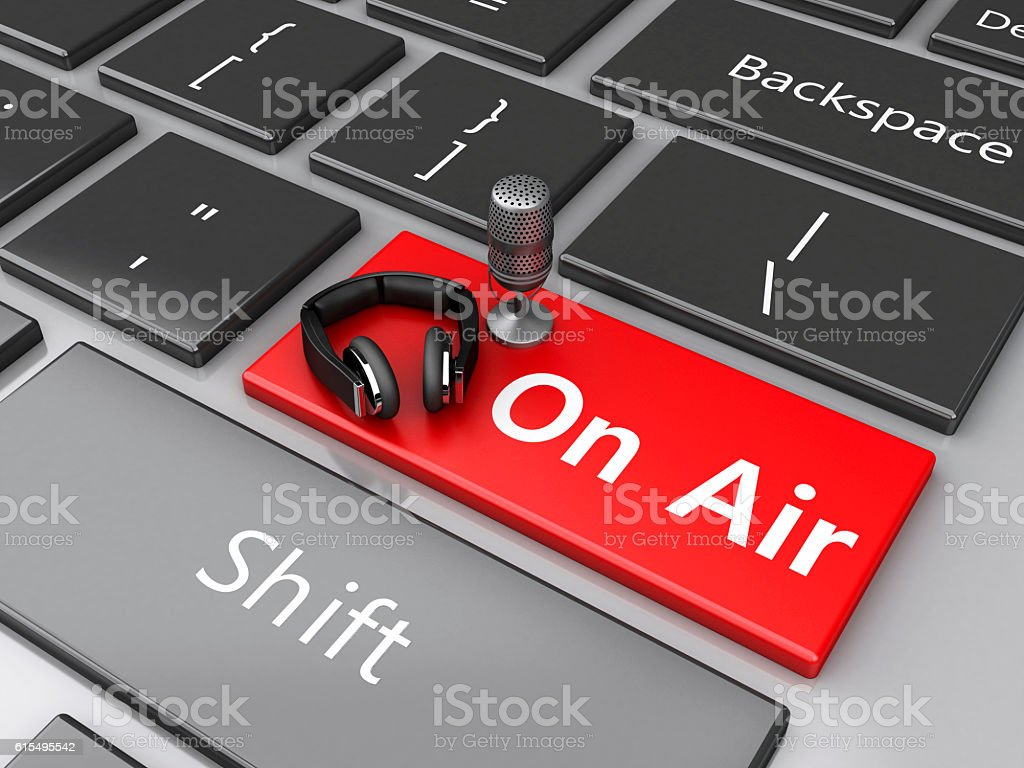 3d Word air with mic and headphones on computer keyboard. vector art illustration