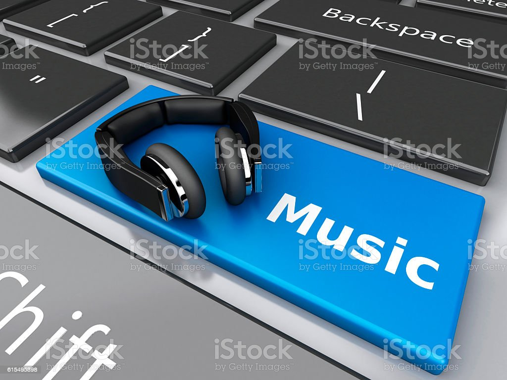 3d Word music with headphones on computer keyboard. stock photo
