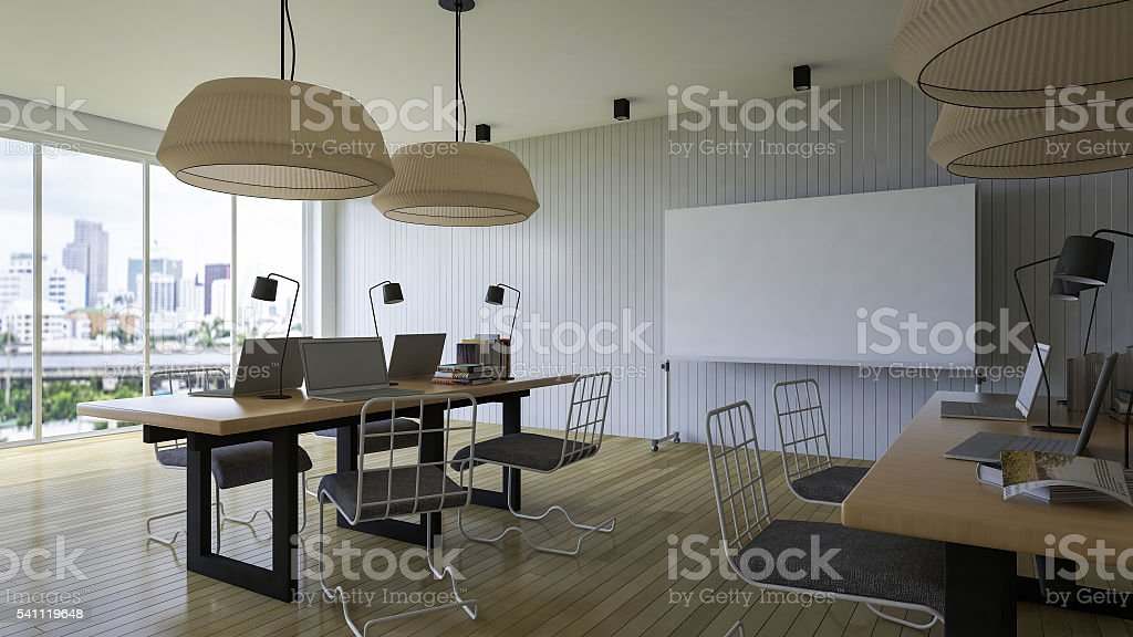 3d working room stock photo