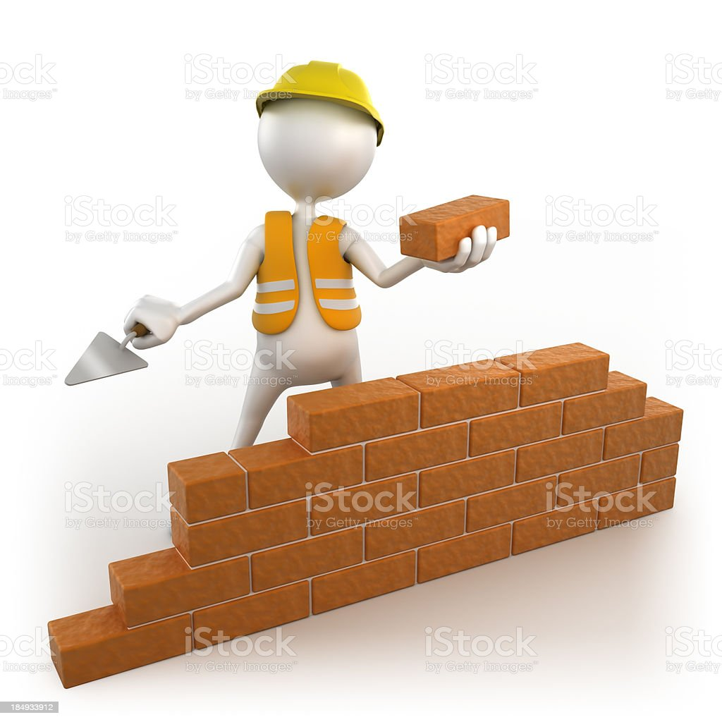 3d workman building brick wall, isolated w. clipping path royalty-free stock photo