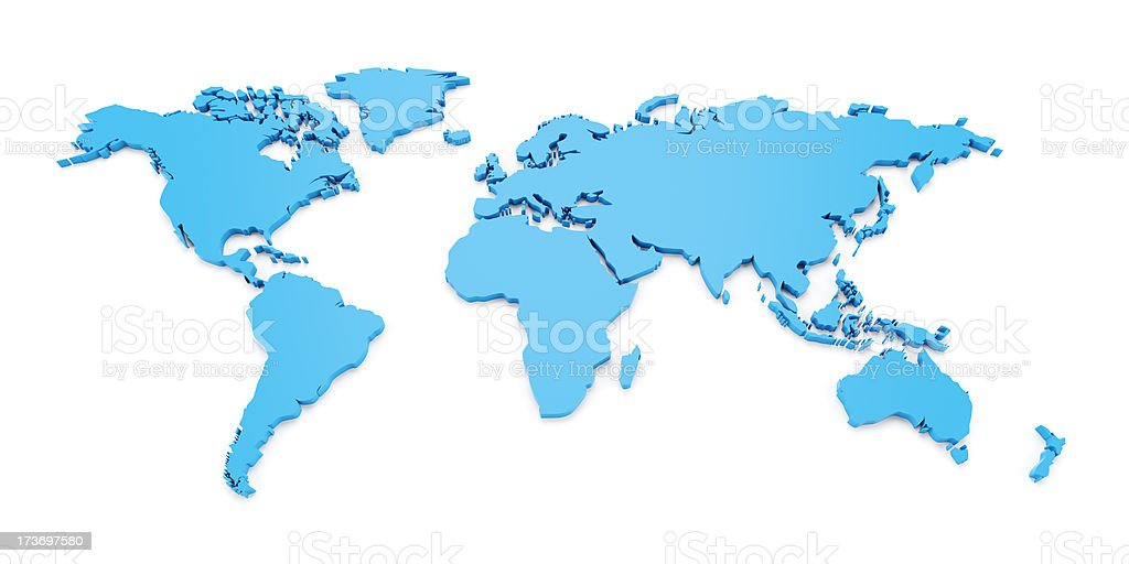 3d world map isolated on white royalty-free stock photo