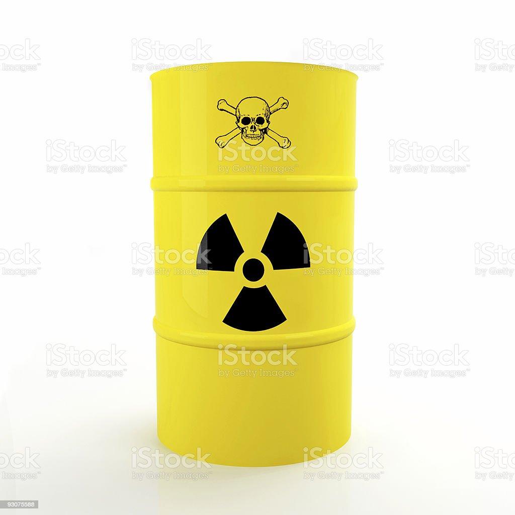 3d yellow radioactive tank stock photo