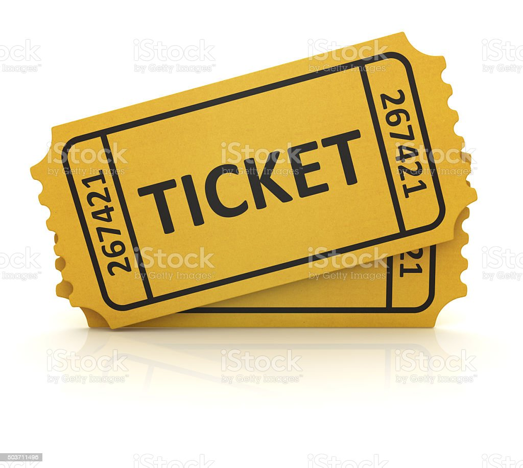 3d yellow ticket stock photo