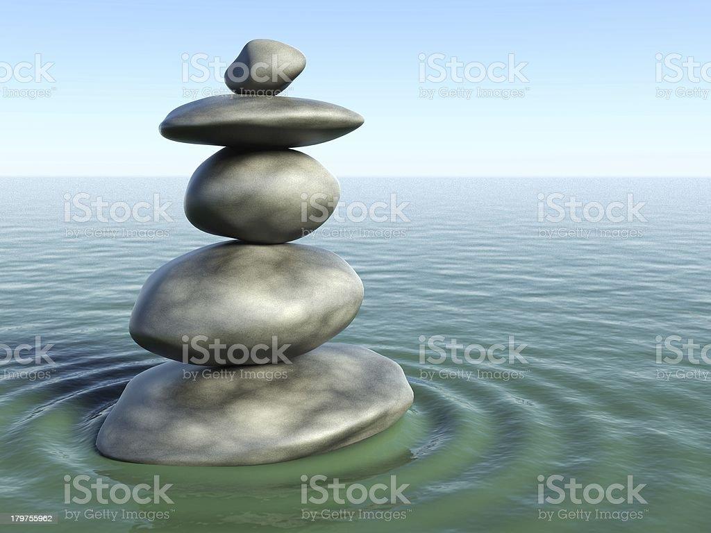 3d Zen stones in water royalty-free stock photo