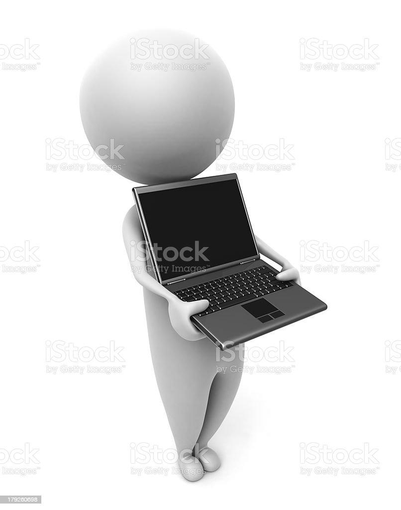 3d_human_laptop royalty-free stock photo