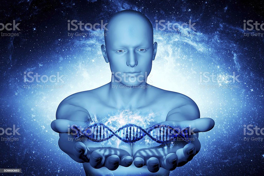 3dman and DNA stock photo