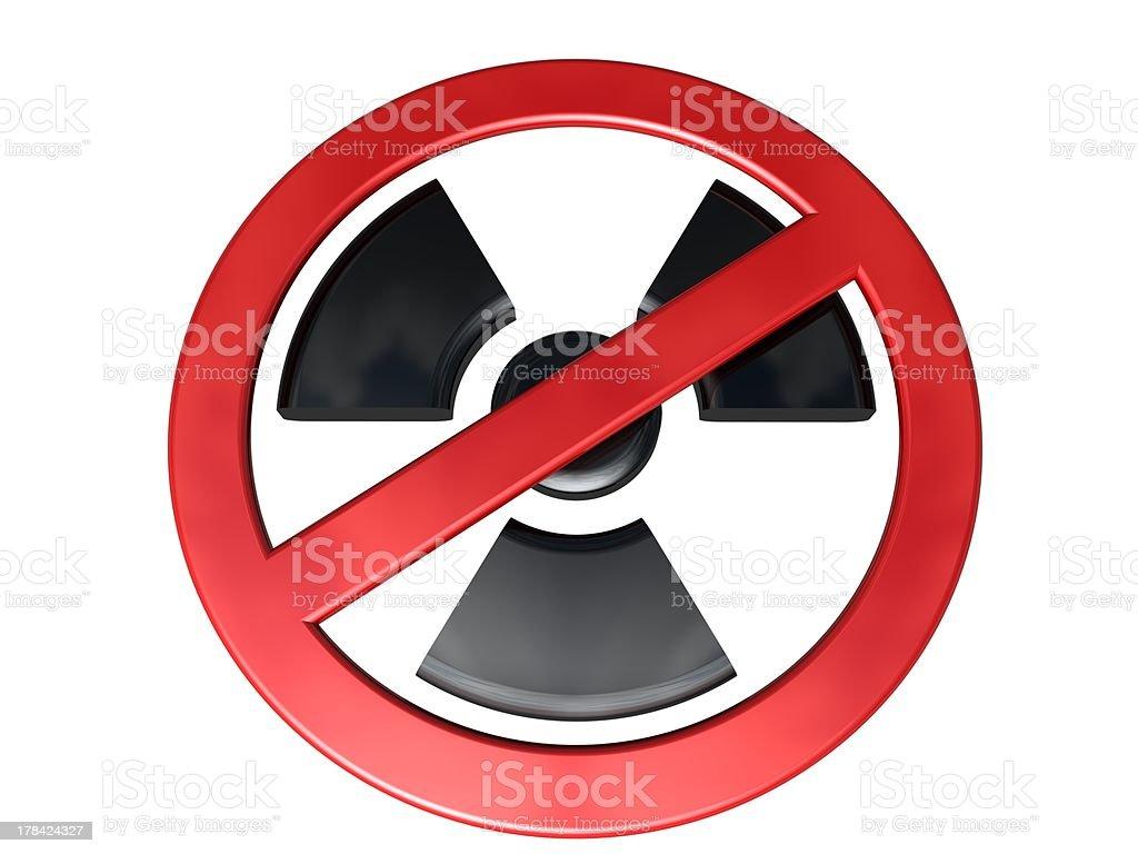 3D-modeled no-radioactivity sign on white background stock photo