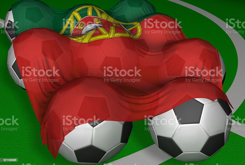 3D-rendering Portugal flag and soccer-balls royalty-free stock photo