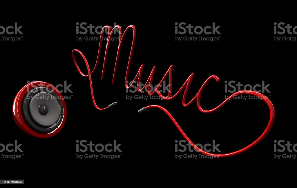 3ds sphere speaker and cord typographic Music stock photo