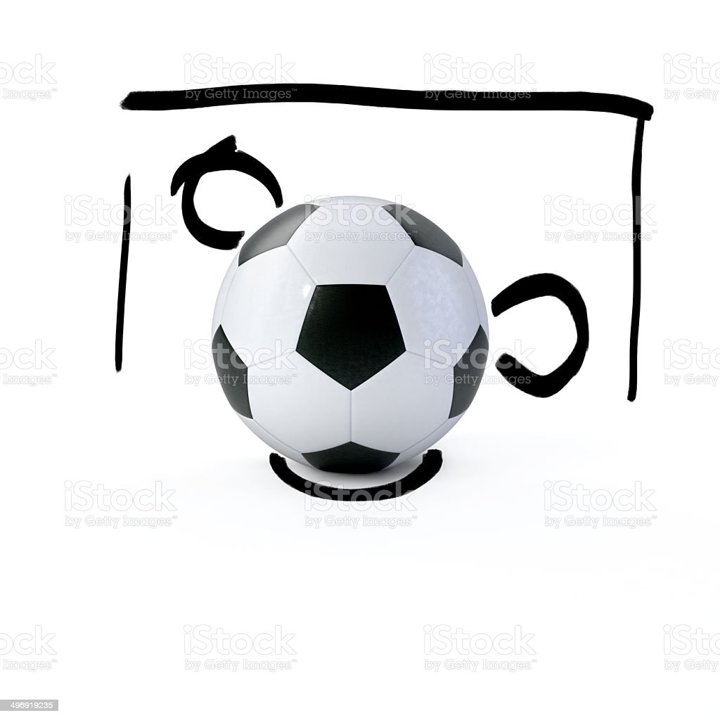 3D-soccer ball in front of a sketched goal stock photo