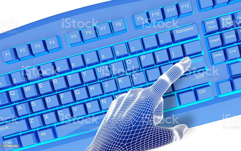 3dwire-frame hands typing on a blue keyboard. royalty-free stock photo