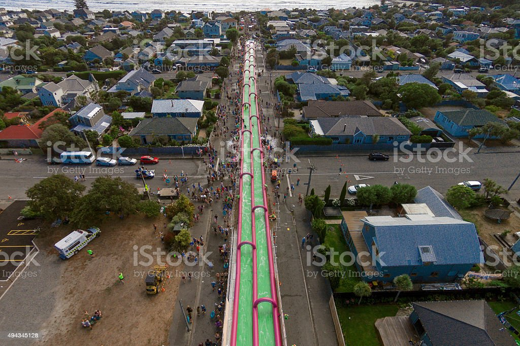 400m Waterslide in Christchurch stock photo