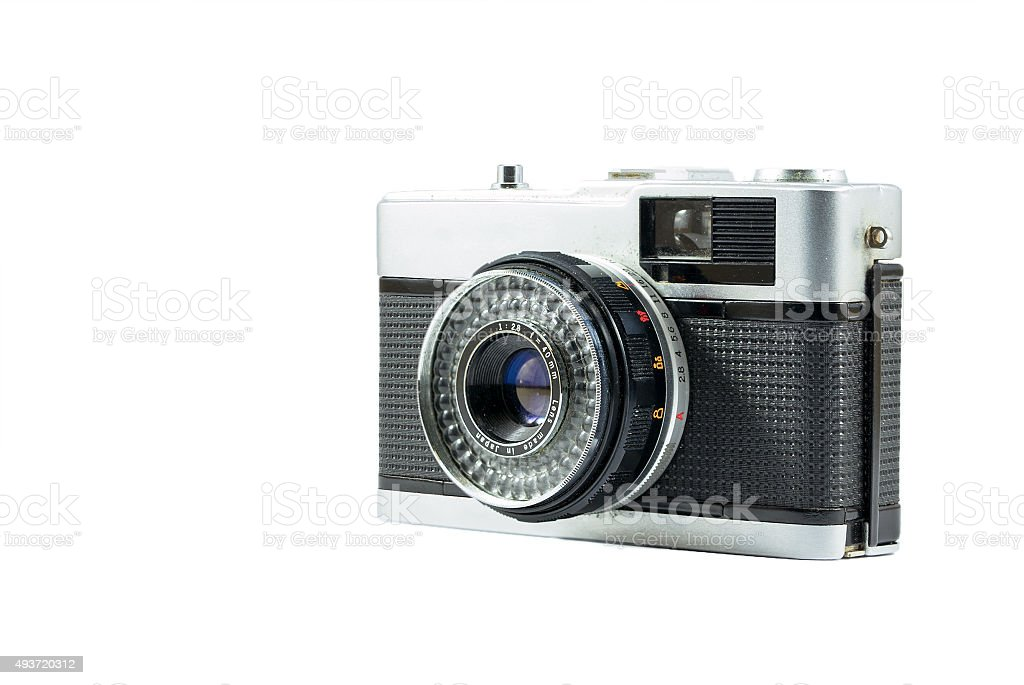 40mm Retro Film Camera isolated on white background stock photo