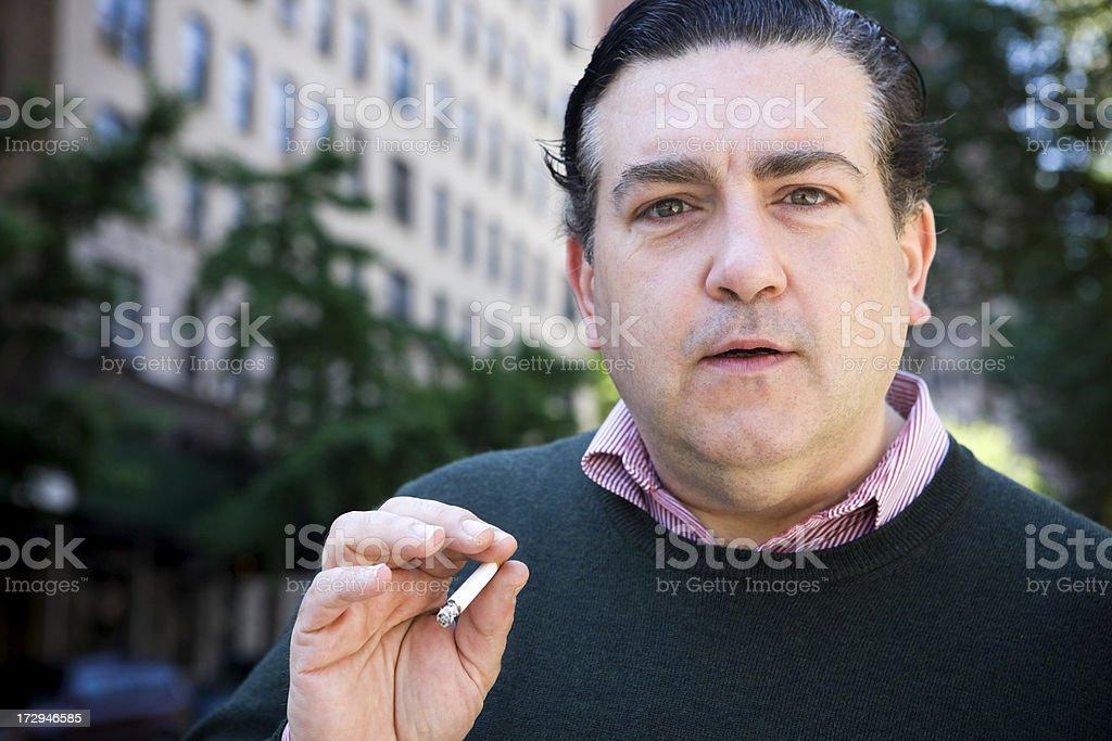 40s Italian American Man Portrait, Smoking on New York Sidewalk royalty-free stock photo