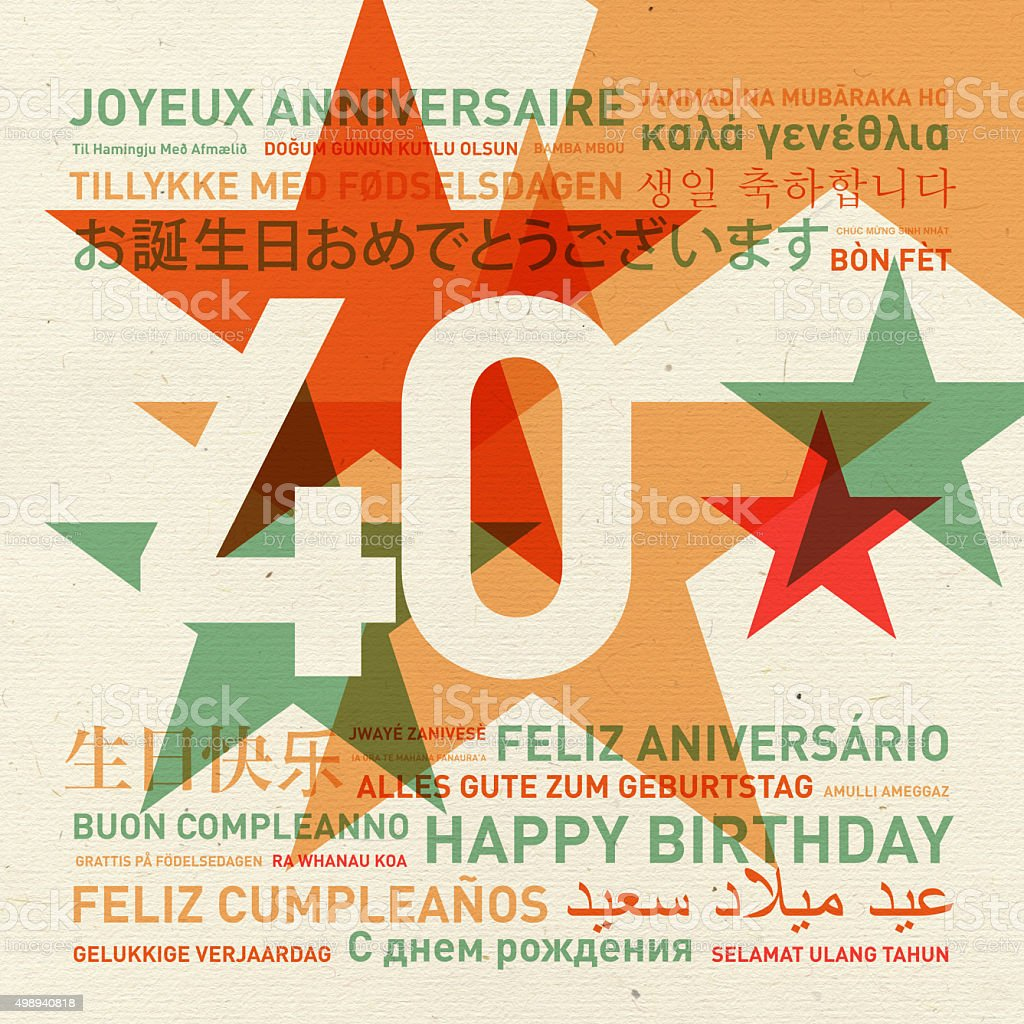 40th anniversary happy birthday card from the world stock photo