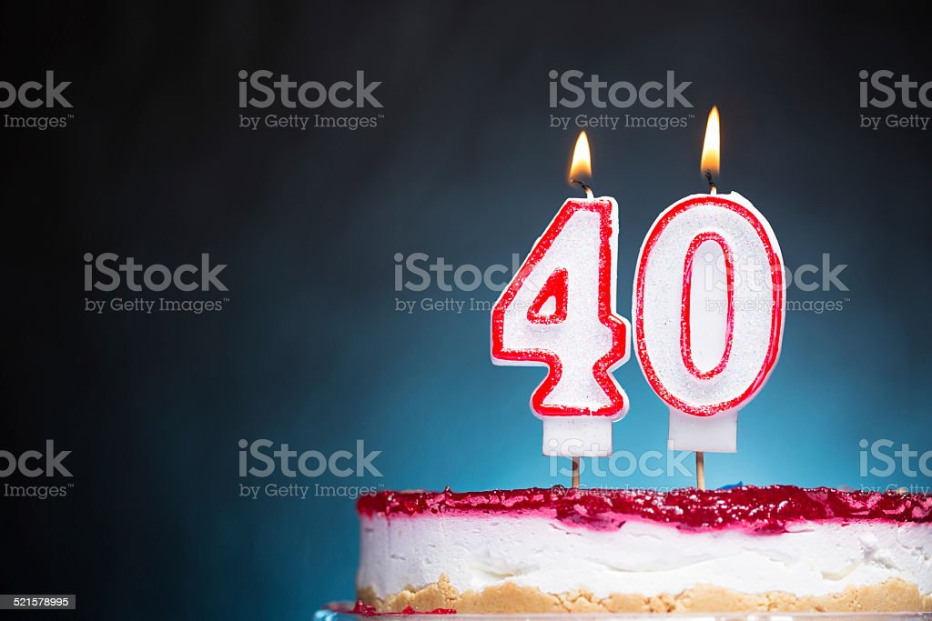 40th Birthday candles stock photo