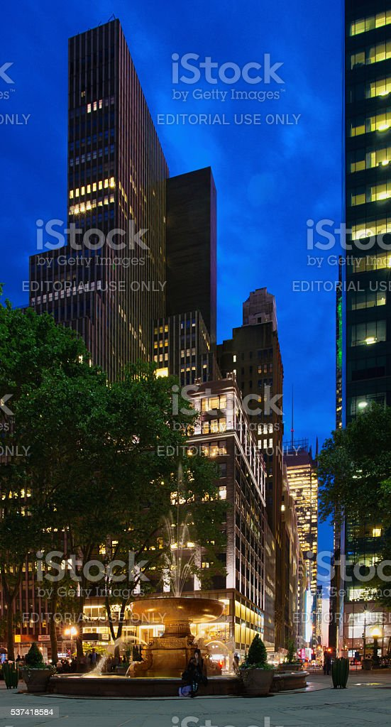 41st Street and Sixth Avenue Intersection Showing Bryant Park Fountain stock photo