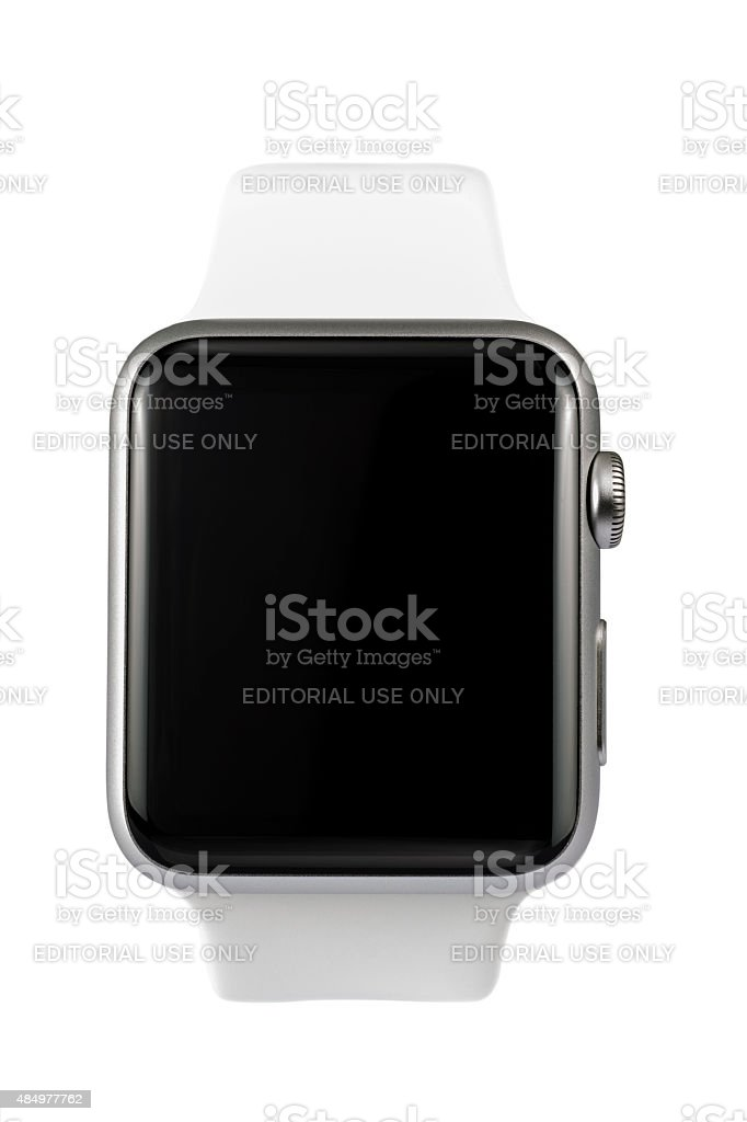 APPLE WATCH 42mm Stainless Steel White Sport Band with ClippingPath stock photo