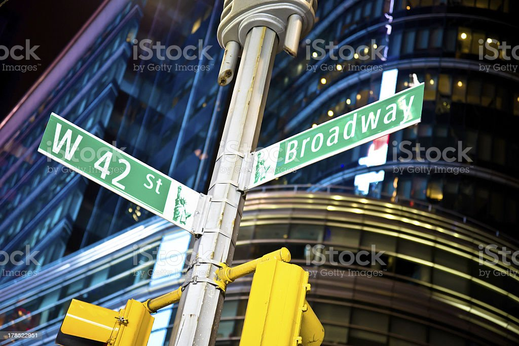 42nd Street and Broadway Sign royalty-free stock photo