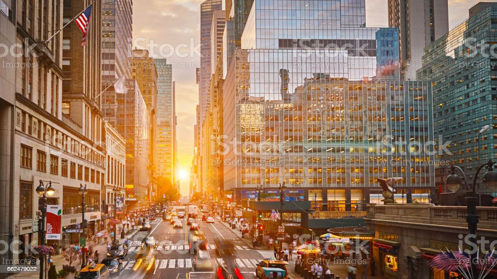42nd street and unset stock photo