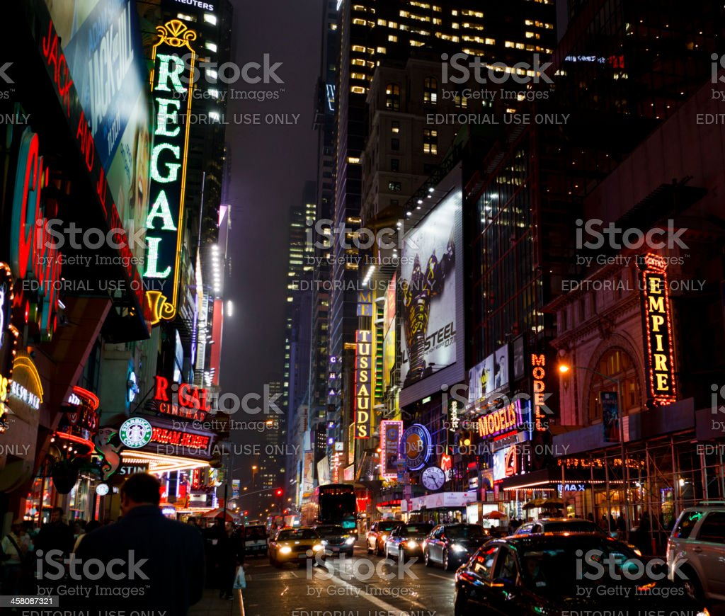 42nd Street at Night Manhattan royalty-free stock photo