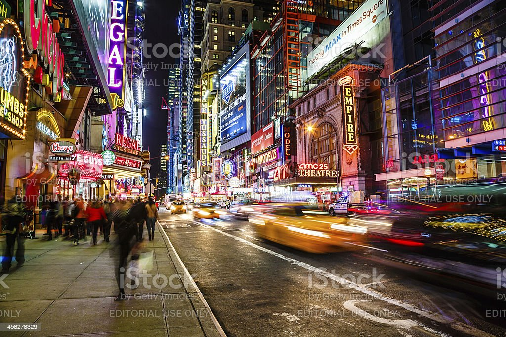 42nd street at night, New York City, USA royalty-free stock photo