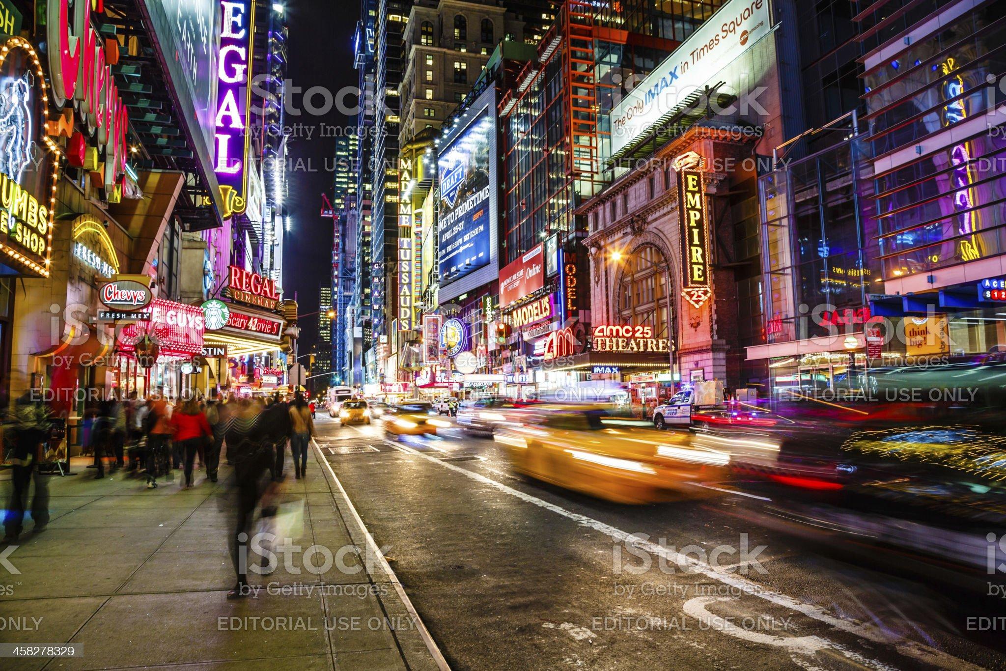 42nd street at night, New York City, USA royalty-free stock photo