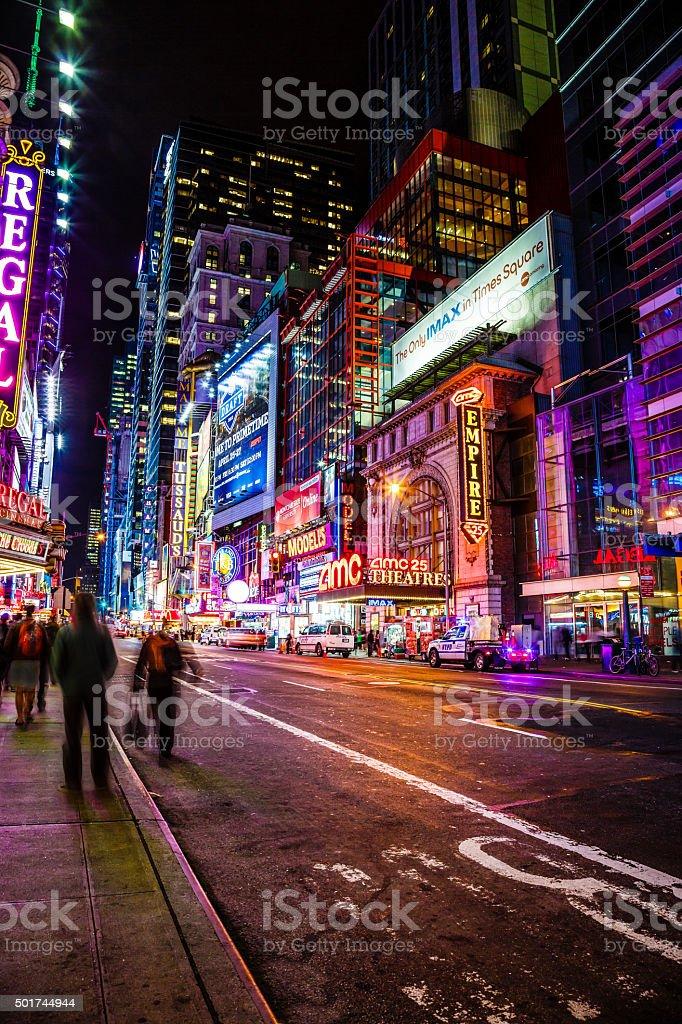 42nd street at night, New York City, USA stock photo