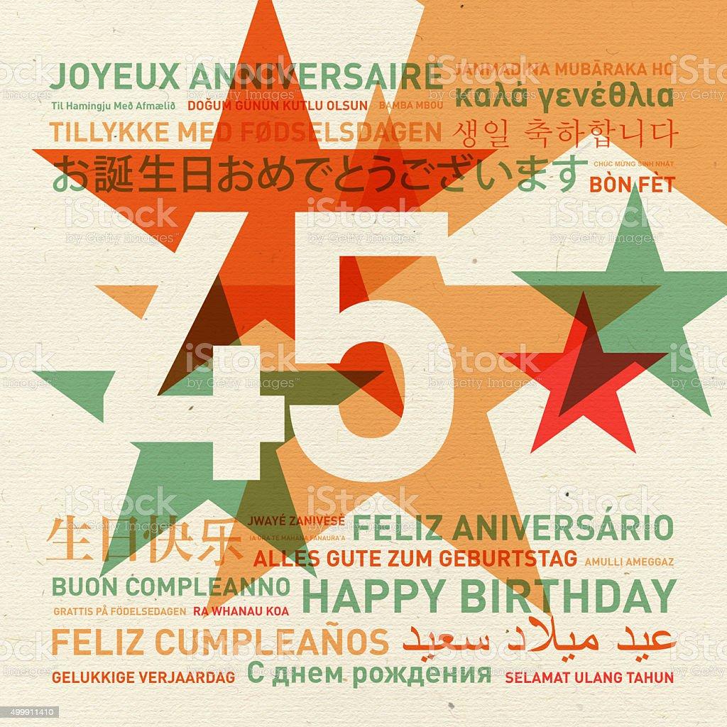 45th anniversary happy birthday card from the world stock photo