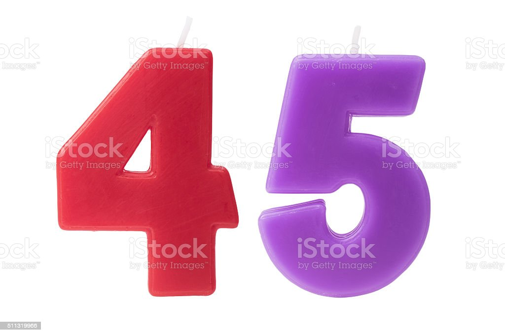 45th birthday candles isolated stock photo