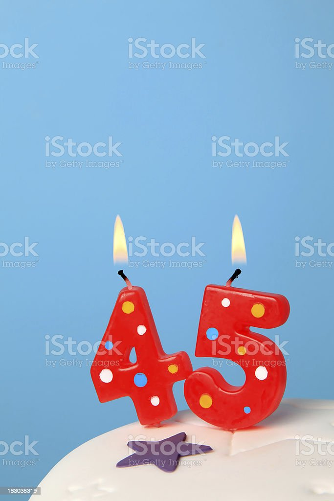 45th Birthday candles royalty-free stock photo