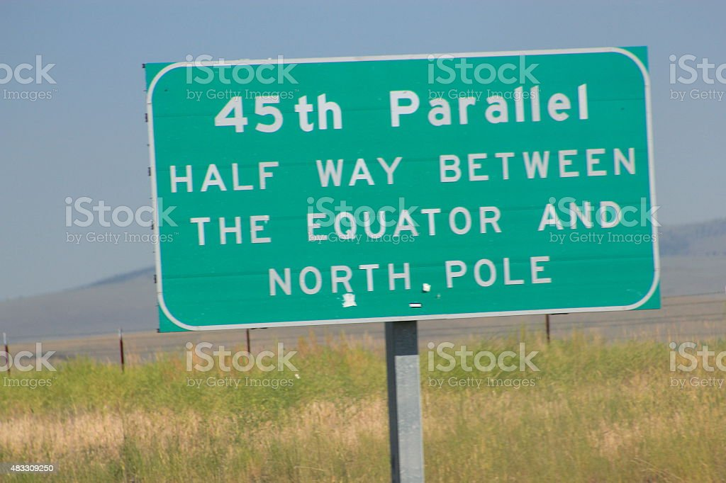 45th Parallel half way between the Equator and North Pole stock photo