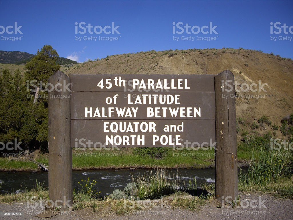 45th Parallel Sign stock photo