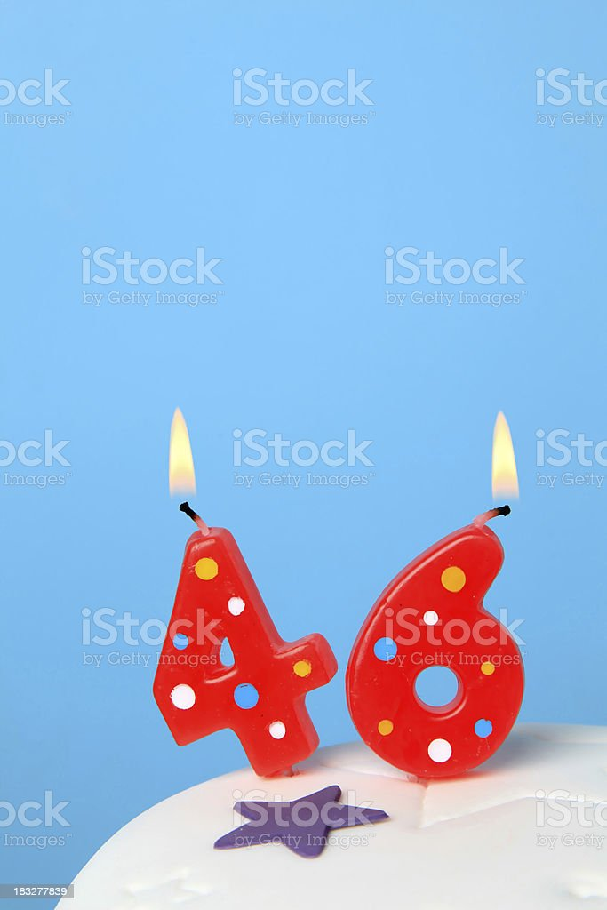 46th Birthday candles stock photo